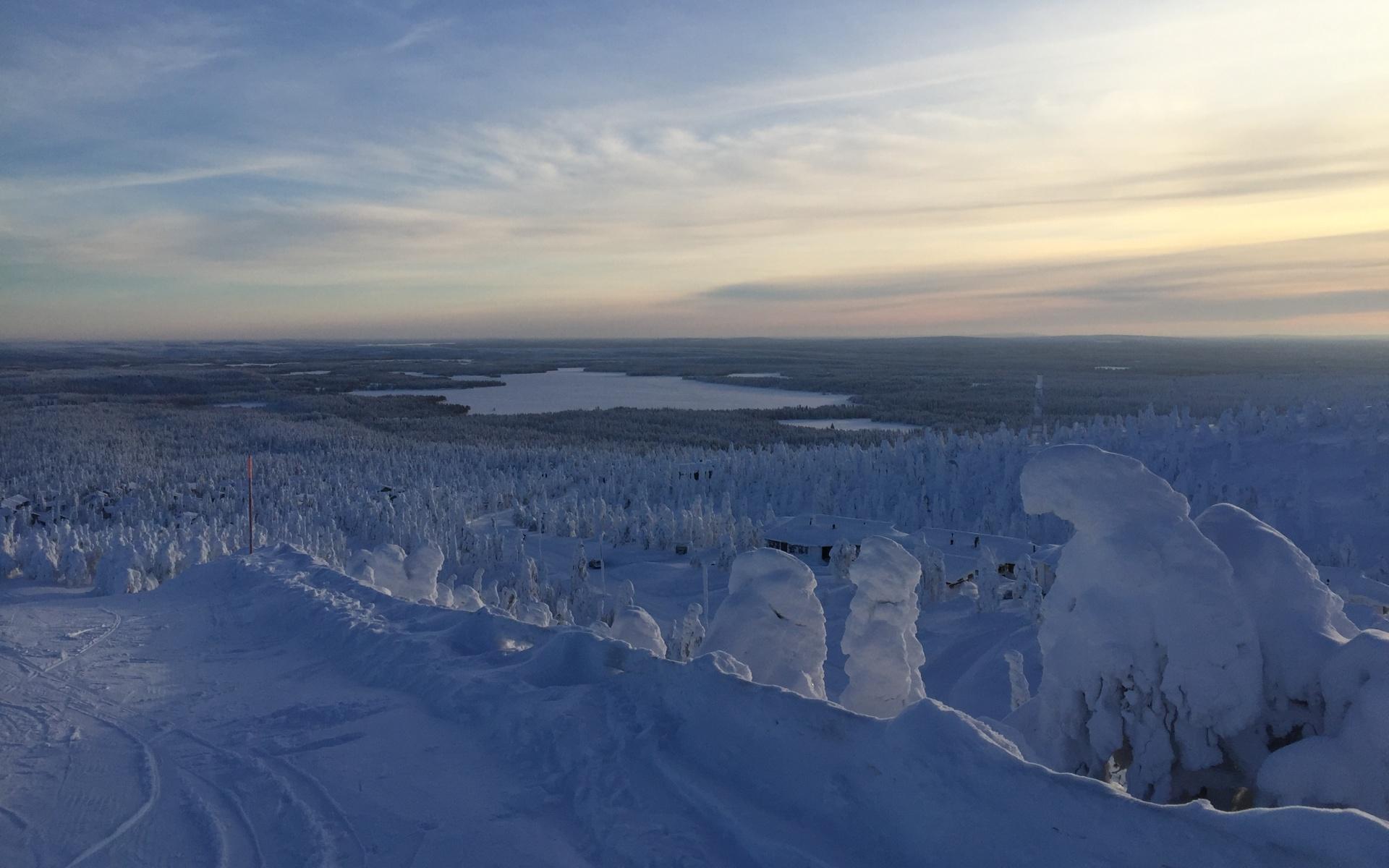 Finnland, Skipiste, Schnee, Stimmung